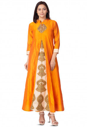 Embroidered Bhagalpuri Silk Long Kurta in Orange and Beige
