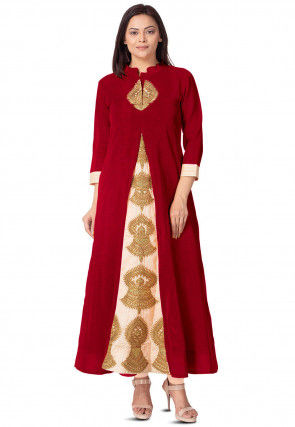 Embroidered Bhagalpuri Silk Long Kurta in Red and Beige