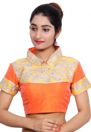 Embroidered Bhagalpuri Silk Padded Blouse in Orange and Yellow