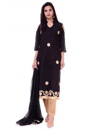 Embroidered Bhagalpuri Silk Pakistani Suit in Black