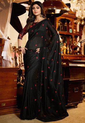 Embroidered Bhagalpuri Silk Saree in Black