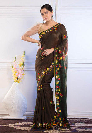 Embroidered Bhagalpuri Silk Saree in Dark Brown