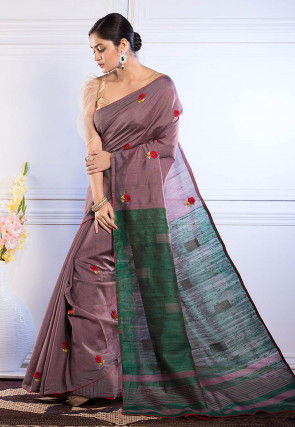 Embroidered Bhagalpuri Silk Saree in Dusty Purple
