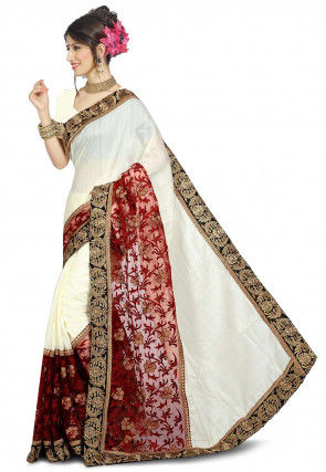 Embroidered Bhagalpuri Silk Saree in Off White and Maroon