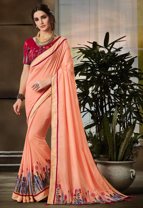 Embroidered Bhagalpuri Silk Saree in Peach