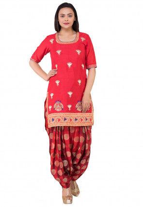 Embroidered Bhagalpuri Silk Straight Kurti Set in Red