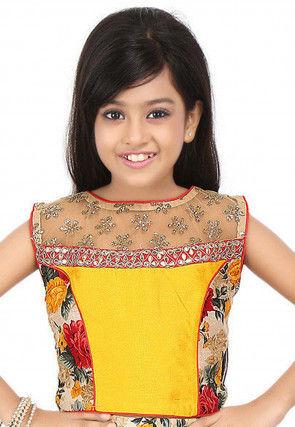 Embroidered Bhagalpuri Silk Top in Yellow and Beige