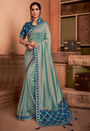 Embroidered Border Art Silk Dual Tone Saree in Teal Blue