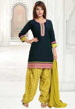 Embroidered Border Art Silk Punjabi Suit in Navy Blue