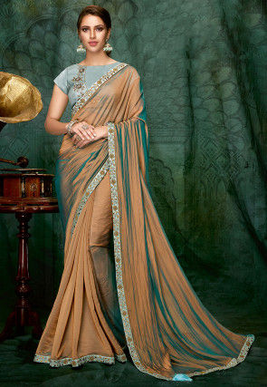 Embroidered Border Art Silk Saree in Antique