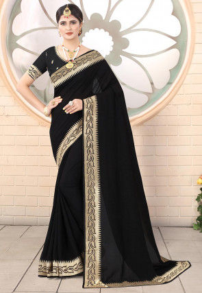 Embroidered Border Art Silk Saree in Black