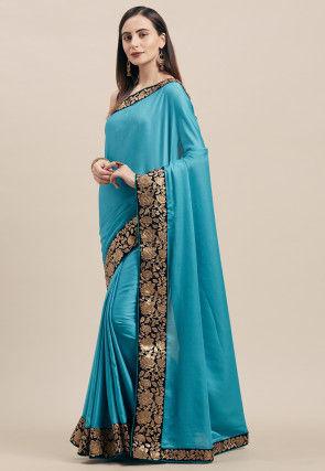 Embroidered Border Art Silk Saree in Blue