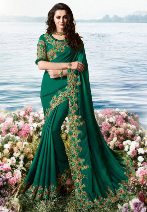Embroidered Border Art Silk Saree in Dark Green