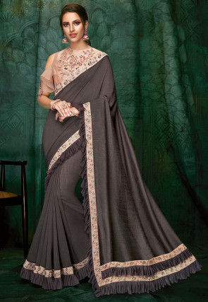 Embroidered Border Art Silk Saree in Dark Grey
