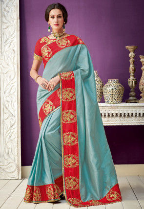 Embroidered Border Art Silk Saree in Dusty Blue