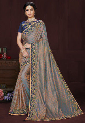 Embroidered Border Art Silk Saree in Grey