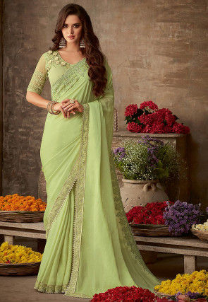 Embroidered Border Art Silk Saree in Light Green