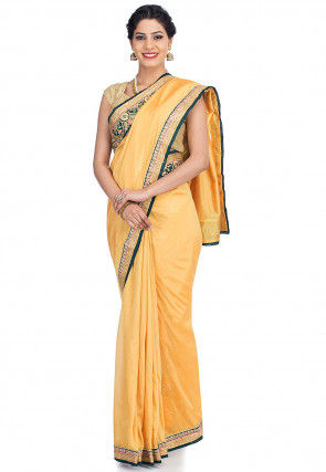Embroidered Border Art Silk Saree in Light Mustard
