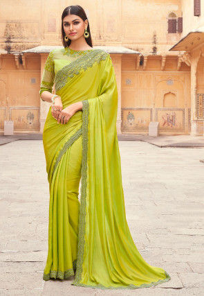 Embroidered Border Art Silk Saree in Light Olive Green