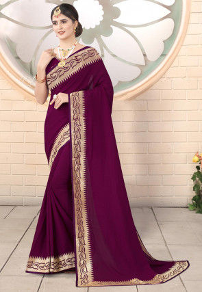 Embroidered Border Art Silk Saree in Magenta