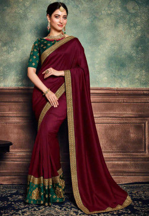 Embroidered Border Art Silk Saree in Maroon
