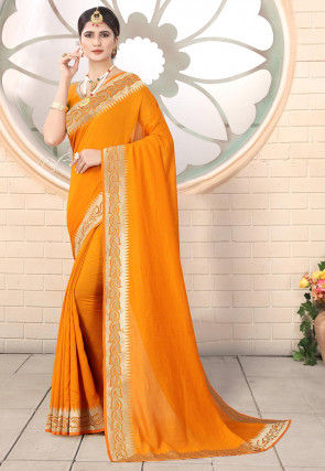 Embroidered Border Art Silk Saree in Mustard
