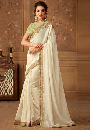 Embroidered Border Art Silk Saree in Off White