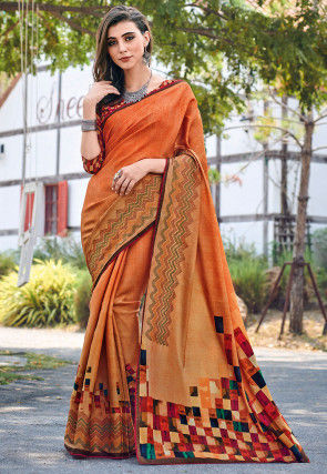 Embroidered Border Art Silk Saree in Orange