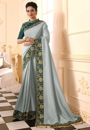 Embroidered Border Art Silk Saree in Pastel Blue