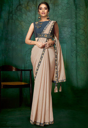 Embroidered Border Art Silk Saree in Peach