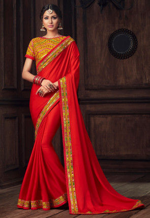 Embroidered Border Art Silk Saree in Red