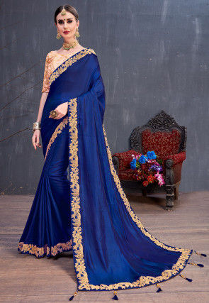 Embroidered Border Art Silk Saree in Royal Blue