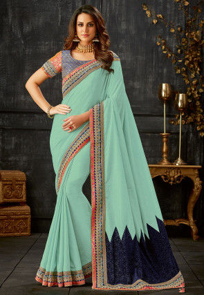 Embroidered Border Art Silk Saree in Sea Green