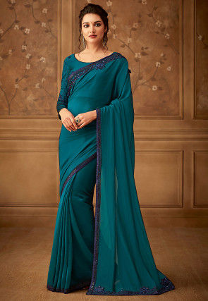 Embroidered Border Art Silk Saree in Teal Blue