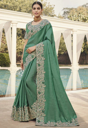 Embroidered Border Art Silk Saree in Teal Green