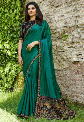 2d888281932 Embroidered Border Art Silk Saree in Teal Green