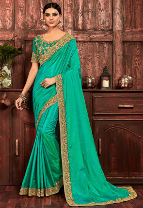 Embroidered Border Art Silk Saree in Turquoise