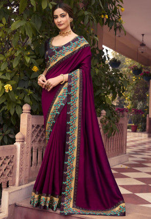 Embroidered Border Art Silk Saree in Violet