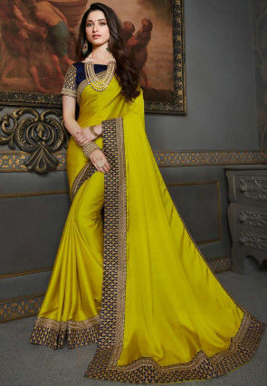 Embroidered Border Art Silk Saree in Olive Green