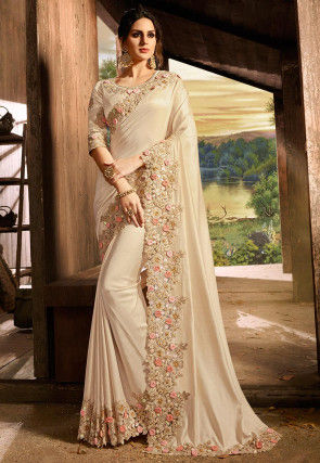 Embroidered Border Art Silk Saree in Light Beige