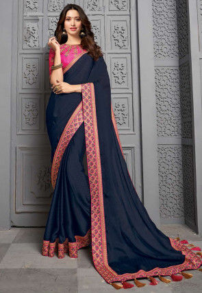 Embroidered Border Chiffon Jacuqard Saree in Navy Blue