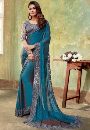 Embroidered Border Chiffon Saree in Blue
