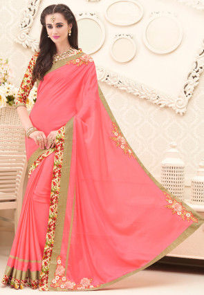 Embroidered Border Chiffon Saree in Coral Pink