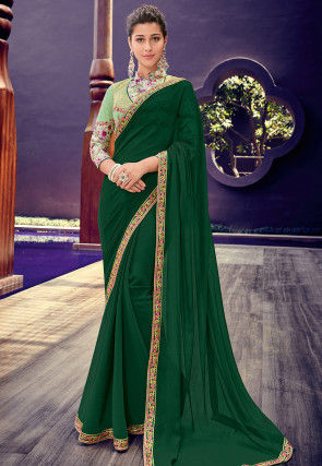 Embroidered Border Chiffon Saree in Dark Green