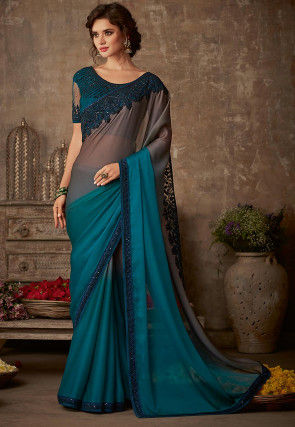 Embroidered Border Chiffon Saree in Grey and Teal Blue