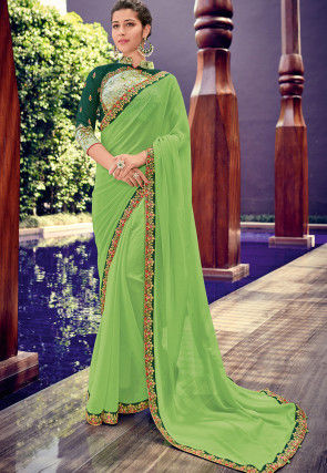 Embroidered Border Chiffon Saree in Light Green