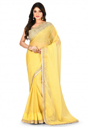 Embroidered Border Chiffon Saree in Light Yellow