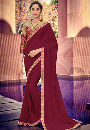 Embroidered Border Chiffon Saree in Maroon
