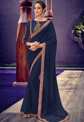 Embroidered Border Chiffon Saree in Navy Blue