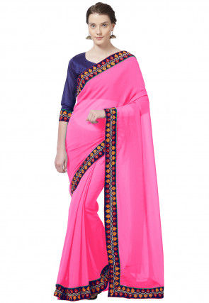 Embroidered Border Chiffon Saree in Pink